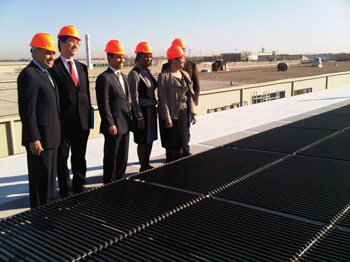 EPA Administrator Lisa Jackson and local officials look at Texas Solar Power's solar installation project at St. Philips College in San Antonio